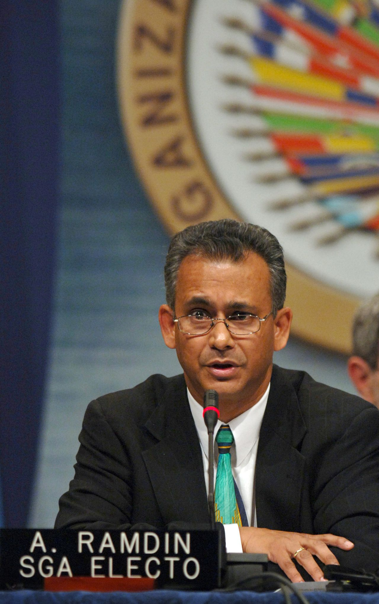 The new Assistant Secretary General of the Organization of American States Albert Ramchand Ramdin from the Republic of Suriname makes his first public statement after being voted in during the fourth plenary session of the 35th General Assembly of the OAS in Fort Lauderdale, Florida, Tuesday, June 7, 2005. Photographer: Richard Sheinwald/Bloomberg News