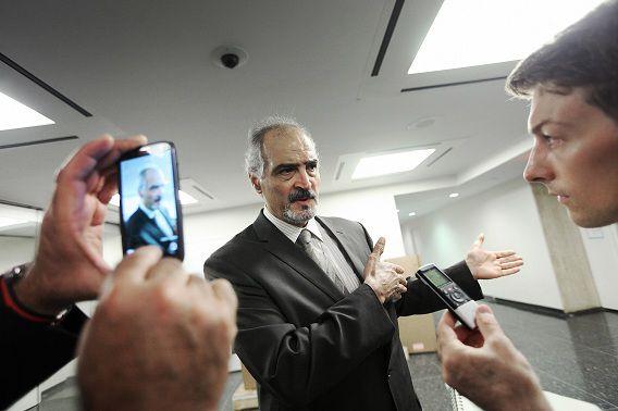De Syrische ambassadeur Bashar Ja'afari bij de Verenigde Naties in New York City.