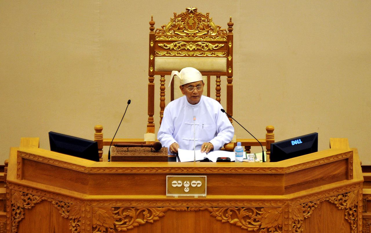 Myanmar President Thein Sein addresses the Union Parliament in Naypyidaw on August 22, 2011. Myanmar's Union Parliament - which combines members of the upper house (national parliament) and the lower house (people's parliament) - convened for its second session since a controversial election in November 2010 in the country's remote capital of Naypyidaw. AFP PHOTO / Soe Than WIN