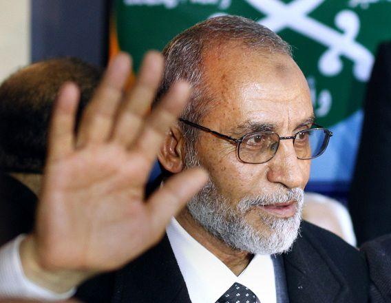 Mohammed Badie tijdens zijn eerste persconferentie, toen hij net gekozen was als leider van de Moslimbroederschap na verkiezingen in 2010.