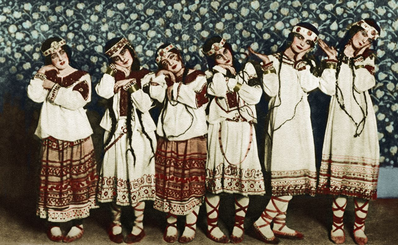 Igor Stravinsky 's 'Rite of Spring' (The Adolescents) - original production at the Théâtre des Champs Elysées, Paris, 1913. Ballets Russes de Diaghilev. IS: Russian composer, 1882 - 1971. Photo by Charles Gerschel, 1871-1930. Le Sacre du printemps. Colourised version.