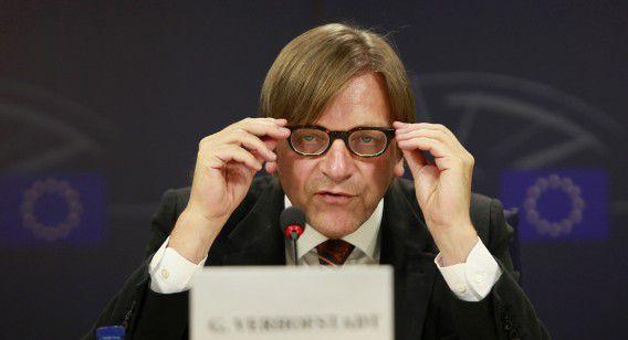 Guy Verhofstadt, nu nog leider van de Alliance of Liberals and Democrats for Europe in het Europees Parlement.