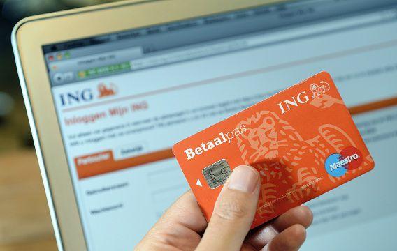 Een bankpas van de ING voor de website van de bank.