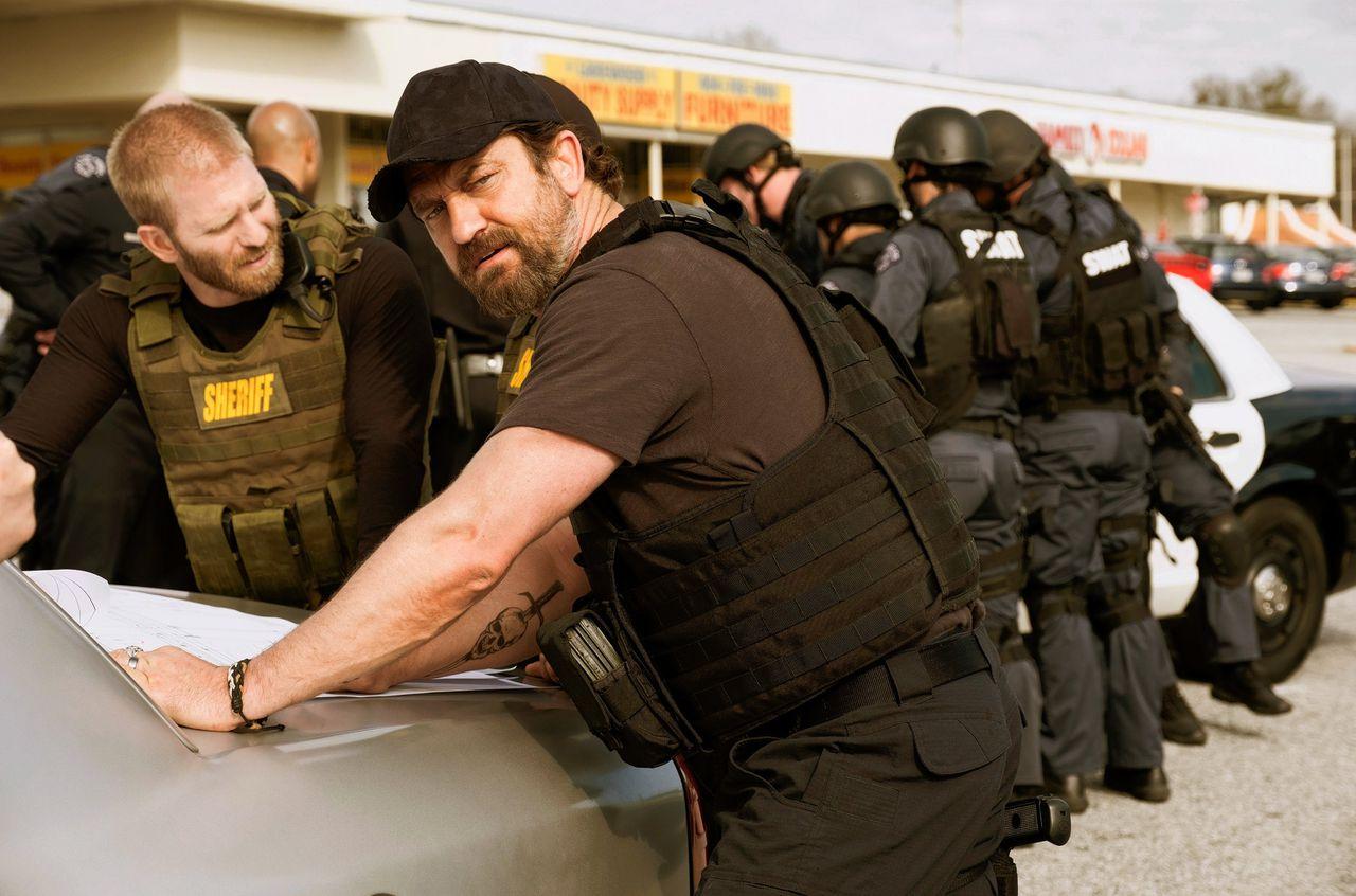 Gerard Butler als inspecteur 'Big Nick' O'Brien in Den of Thieves.