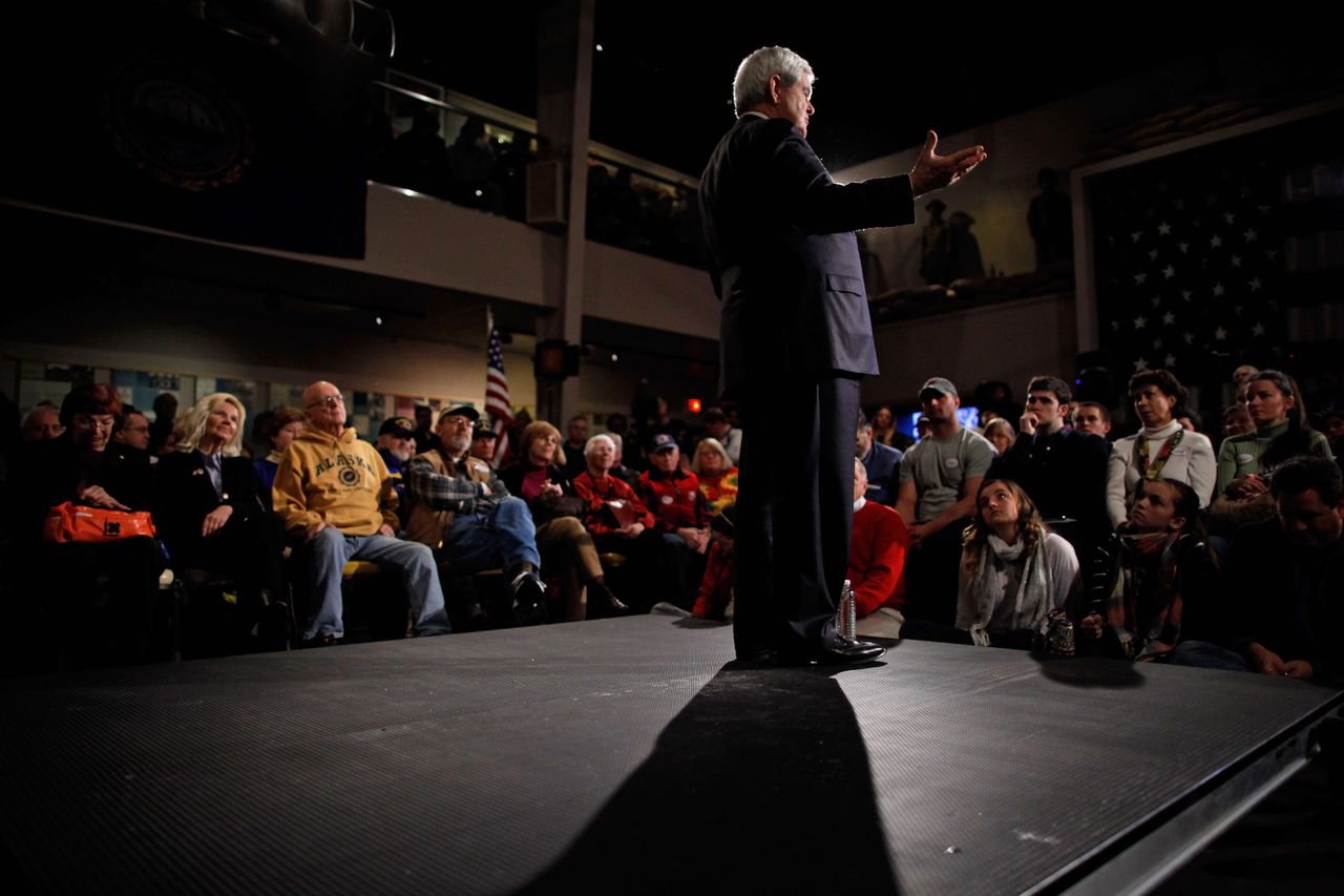 WOLFEBORO, NH - JANUARY 07: Republican presidential candidate, former Speaker of the House of Representatives Newt Gingrich holds a campaign town hall meeting at the Wright Museum January 7, 2012 in Wolfeboro, New Hampshire. According to a CNN/Time/ORC poll released Friday, Gingrich has dropped from 43-percent in December to 17-percent, putting him even with fellow candidate, former U.S. Senator Rick Santorum. However, both are trailing former Massachusetts Governor Mitt Romney who is polling at 37-percent. Chip Somodevilla/Getty Images/AFP == FOR NEWSPAPERS, INTERNET, TELCOS & TELEVISION USE ONLY ==