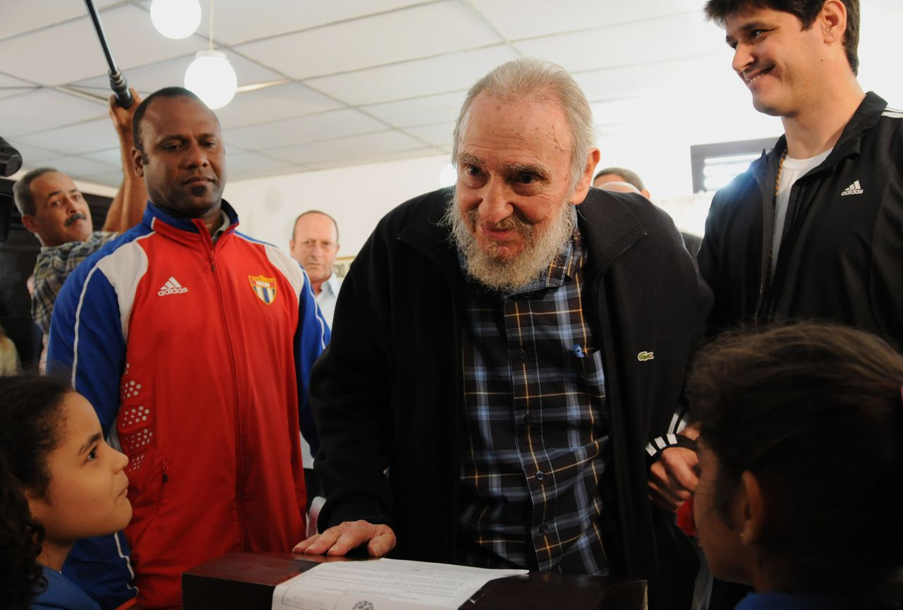 Cuba's leader Fidel Castro votes at a polling station during parliament elections in Havana, Cuba, Sunday, Feb. 3, 2013. Castro, who appears in public only occasionally, was among more than 8 million islanders eligible to vote and approve 612 members of the National Assembly and over 1,600 provincial delegates. (AP Photo/Ismael Francisco, Cubadebate)