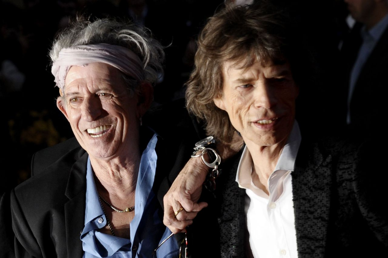 Keith Richards and Mick Jagger attending a screening of Crossfire Hurricane, a documentary about the Rolling Stones, at the Odeon Leicester Square, London, UK. 18/10/2012.
