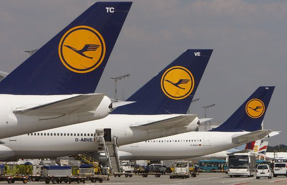 Caption: FILE - In this July 28, 2008 file picture Lufthansa planes wait at Frankfurt's Rhein-Main airport. A union representing cabin crew at German airline Lufthansa says its members plan to go on strike after talks on pay and conditions broke down. German news agency dapd reported that the UFO union announced walkouts at all the German airports where Lufthansa has staff, hours after talks with the company failed on Tuesday Aug. 28, 2012. It didn't give details but said the walkouts would not start on Tuesday. (AP Photo/Daniel Roland, File)