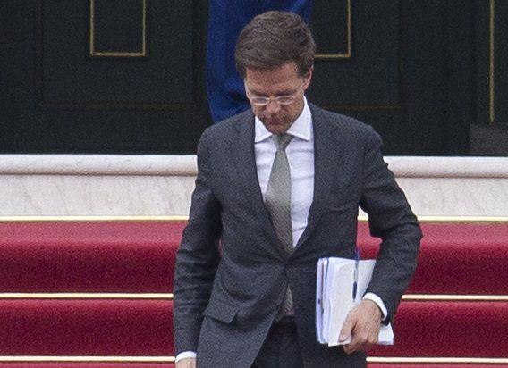 Mark Rutte bij het verlaten van Huis ten Bosch.