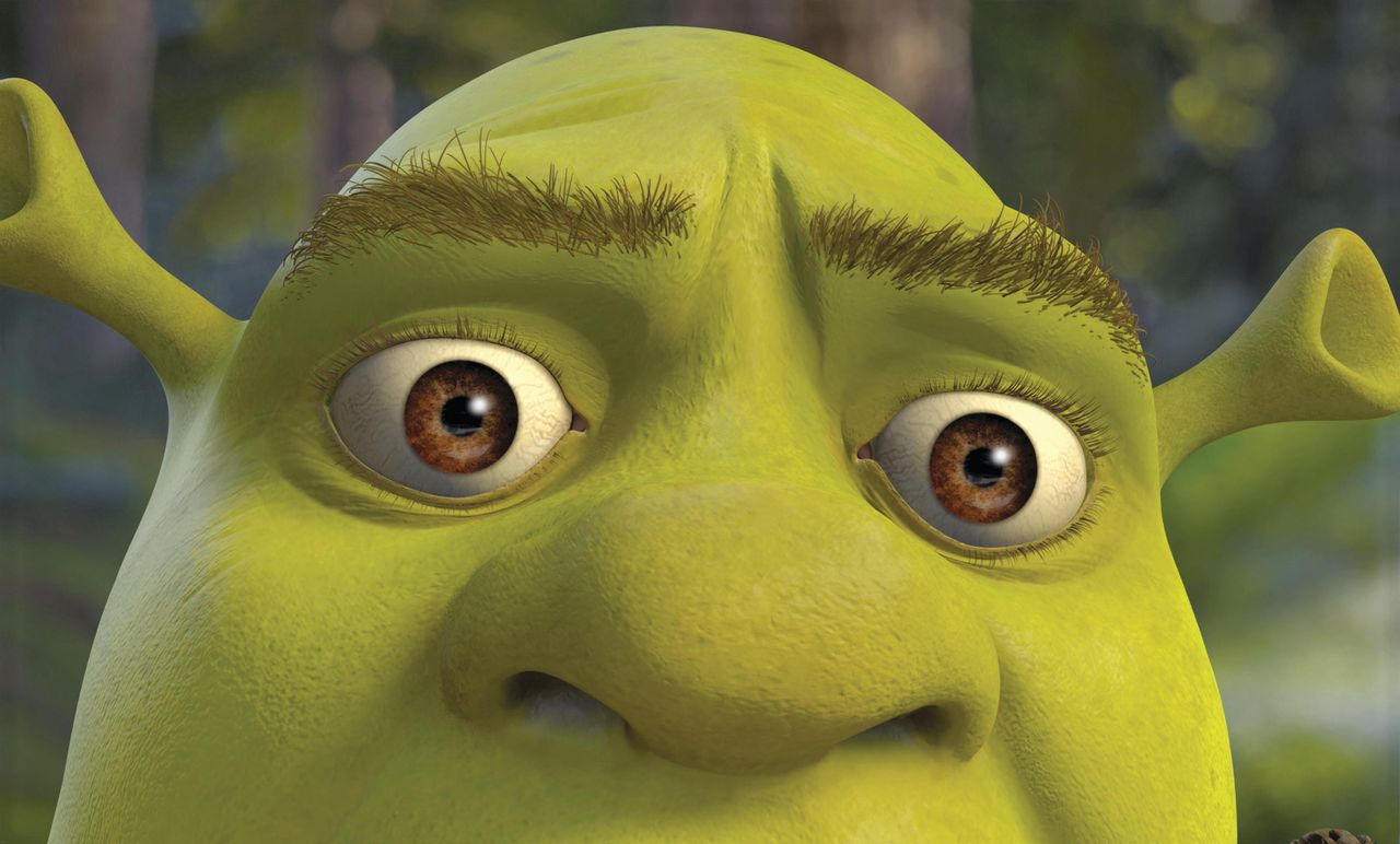Shrek (MIKE MYERS) is like a deer in the headlights when he sees Puss In Boots lunging for him in DreamWorks Pictures? computer-animated comedy SHREK 2.