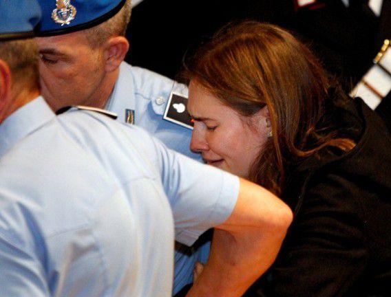 Amanda Knox in tranen na haar vrijspraak in 2011.