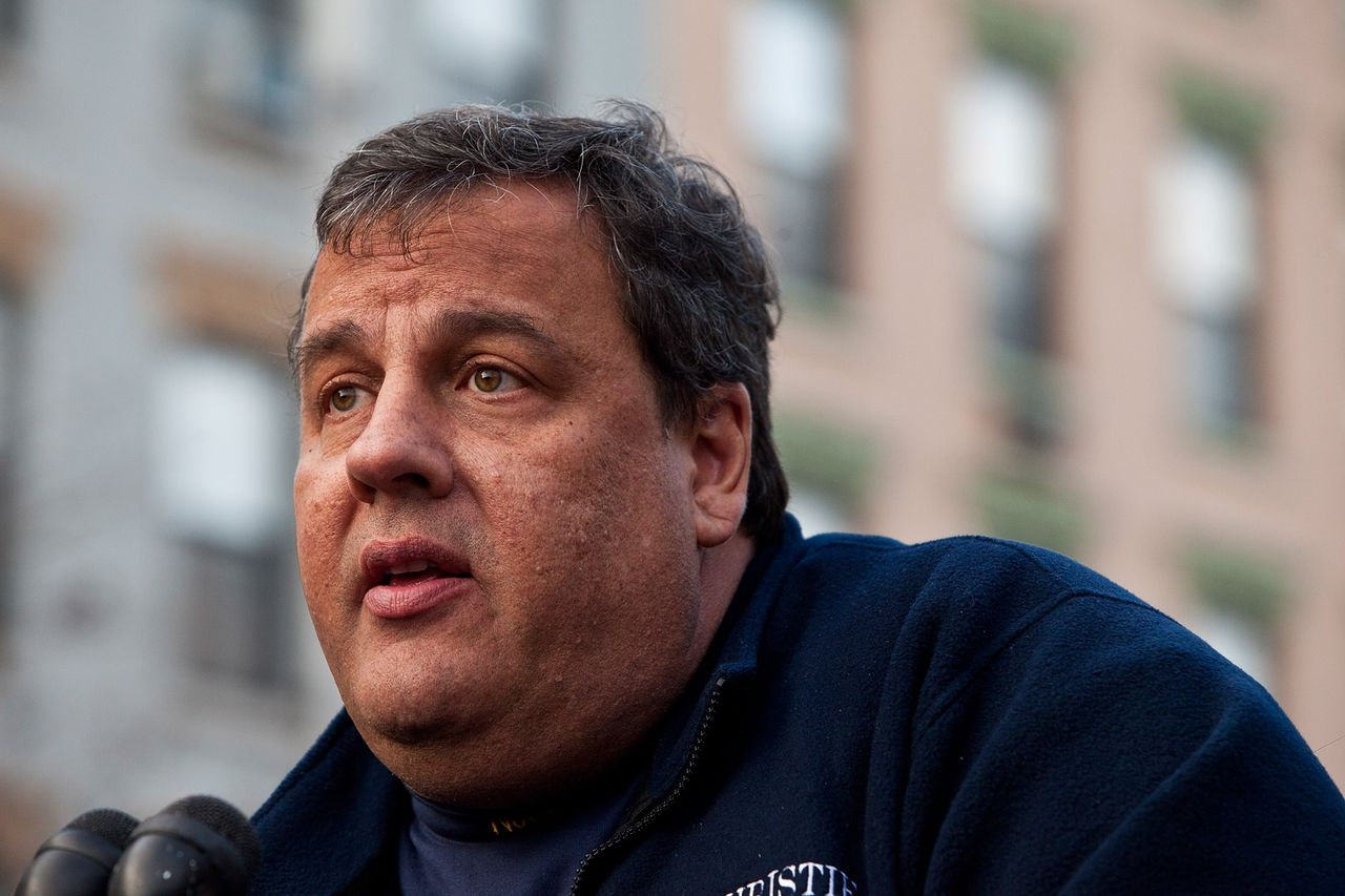 HOBOKEN, NJ - NOVEMBER 04: New Jersey Governor Chris Christie speaks at a joint press conference on November 4, 2012 in Hoboken, New Jersey. As New Jersey continues to clean up from Superstorm Sandy, worries are now growing for a new storm set to hit the state on November 7th. Andrew Burton/Getty Images/AFP == FOR NEWSPAPERS, INTERNET, TELCOS & TELEVISION USE ONLY ==