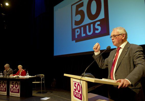 Jan Nagel, oprichter van en senator namens 50Plus, spreekt bij zijn benoeming tot interim-voorzitter van de ouderenpartij.