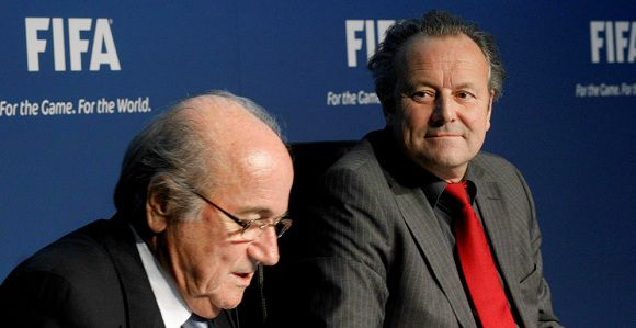 Caption: FIFA President Sepp Blatter and Mark Pieth (R) newly appointed chairman of the FIFA Independent Governance Committee address a news conference in Zurich November 30, 2011. REUTERS/Arnd Wiegmann (SWITZERLAND - Tags: SPORT SOCCER)