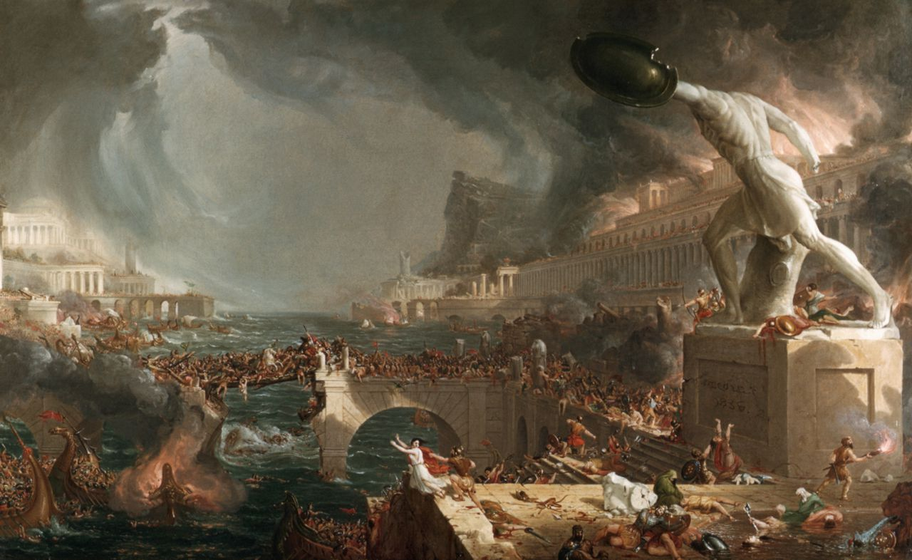 'The Course of Empire: Destruction' (1836), schilderij uit een cyclus van de Amerikaan Thomas Cole Illustratie Corbis by Thomas Cole --- Image by © Francis G. Mayer/CORBIS