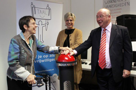 Wethouder Kool afgelopen maandag bij de lancering van de Taalmeter met prinses Laurentien en staatssecretaris Klijnsma.