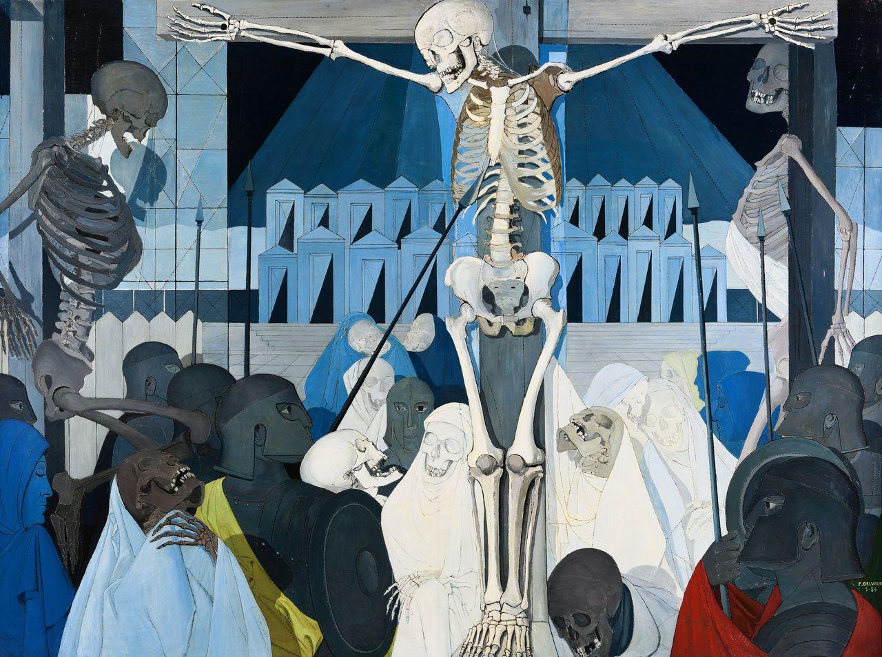 Paul Delvaux, De kruisiging (1954). Olieverf op doek, 200 x 270 cm. Privéverzameling, in depot in het Museum van Elsene.