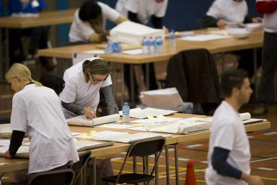 In Alphen aan den Rijn werden de stemmen met de hand geteld na de vorige gemeenteraadsverkiezingen.