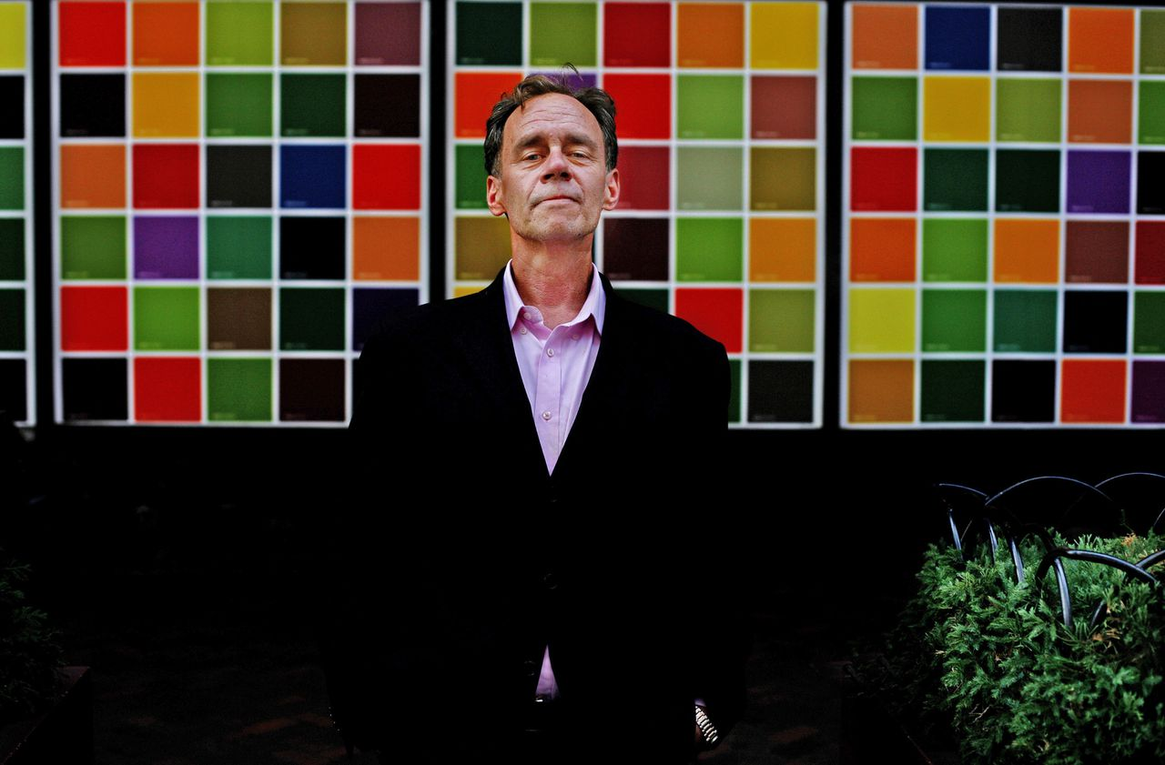David Carr in 2008 op Eighth Avenue, in New York.