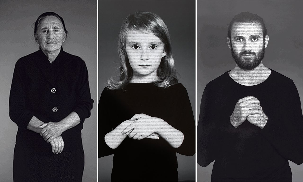 Nazakat, Anna en Javid uit de serie 'The Home of My Eyes', 2015, van Shirin Neshat. 152 x 102 cm.