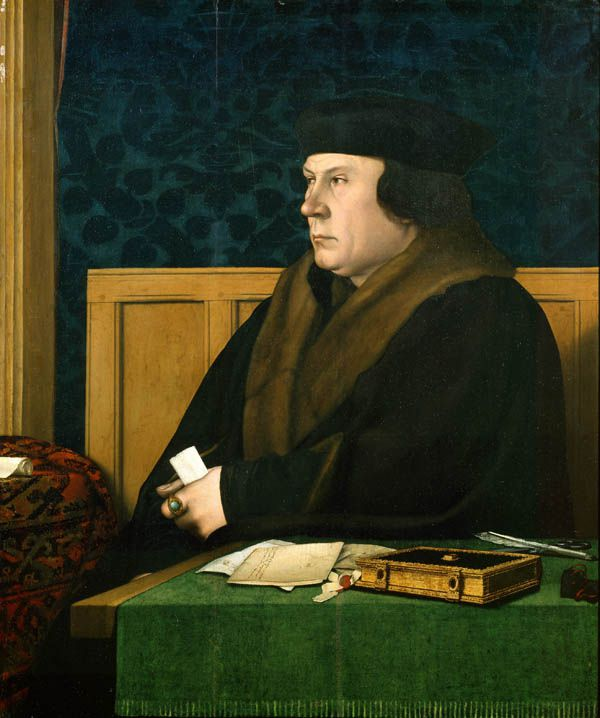 Portret van Thomas Cromwell door Hans Holbein de Jongere. New York, Frick Collection. Oak panel, 76 x 61 cm.