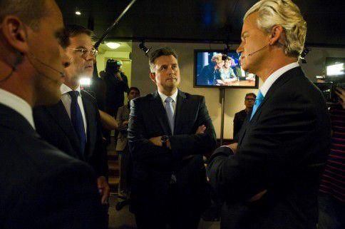 Samsom, Rutte, Roemer en Wilders tijdens het RTL-premiersdebat in Amsterdam. Foto Hollandse Hoogte / Michiel Wijnbergh