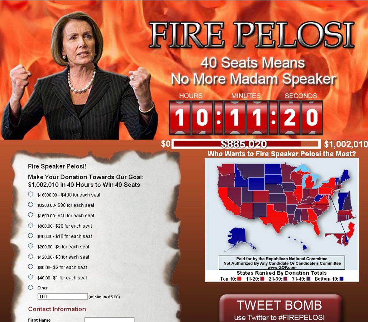 De Republikeinen hebben op hun website de aanval ingezet op Nancy Pelosi, Democratische voorzitter van het Huis van Afgevaardigden. Beeld gop.com/firepelosi