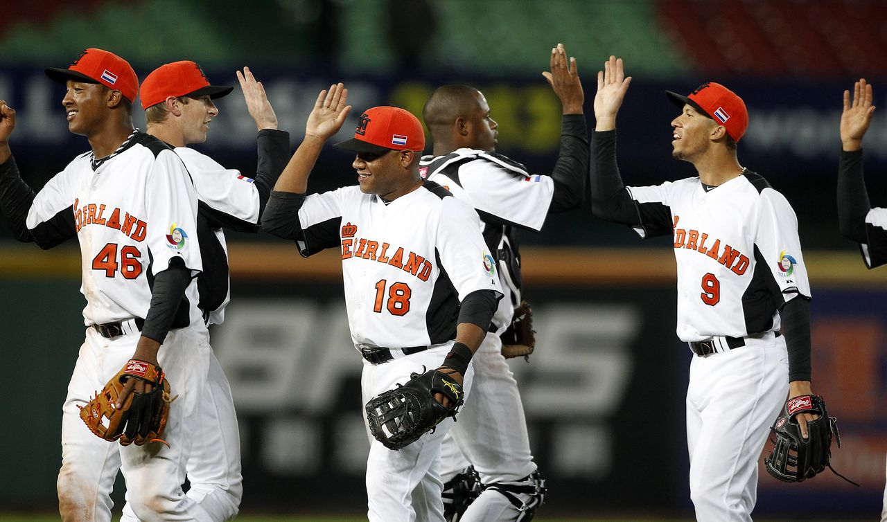 The Netherlands players celebrate after defeating South Korea 5-0 during their World Baseball Classic qualifying first round at the Taichung Intercontinental Baseball Stadium March 2, 2013. REUTERS/Pichi Chuang (TAIWAN - Tags: SPORT BASEBALL)