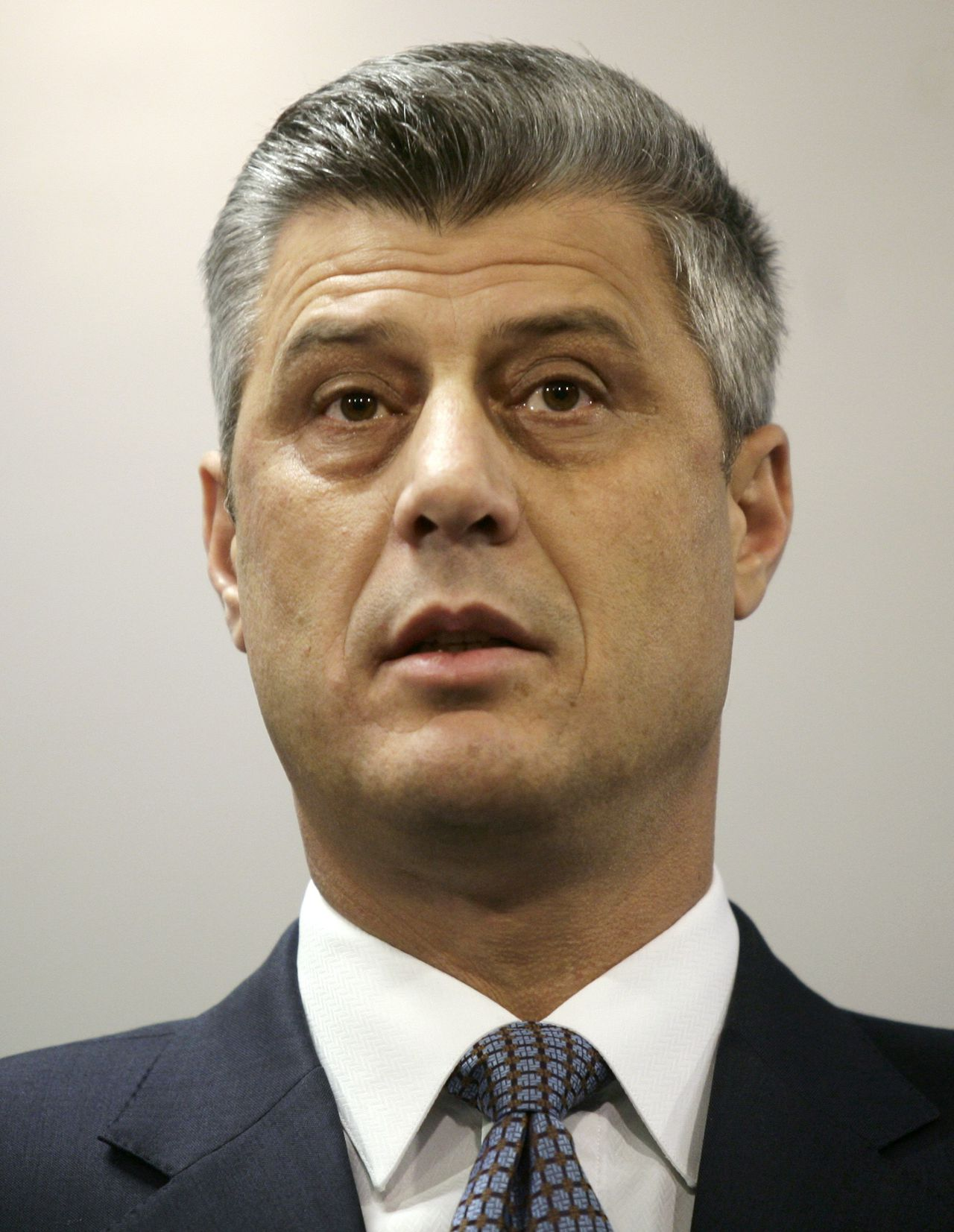 Kosovo's Prime Minister Hashim Thaci speaks during a news conference in Pristina December 16, 2010. Thaci denied on Thursday criminal allegations outlined in a European report and said he would use all political and legal means to bring the truth to light. REUTERS/Hazir Reka (KOSOVO - Tags: POLITICS HEADSHOT)