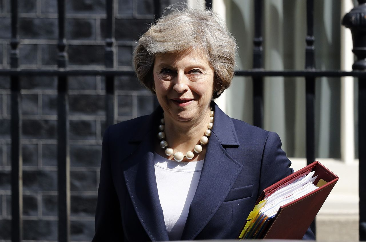 De Britse premier Theresa May op Downing Street.