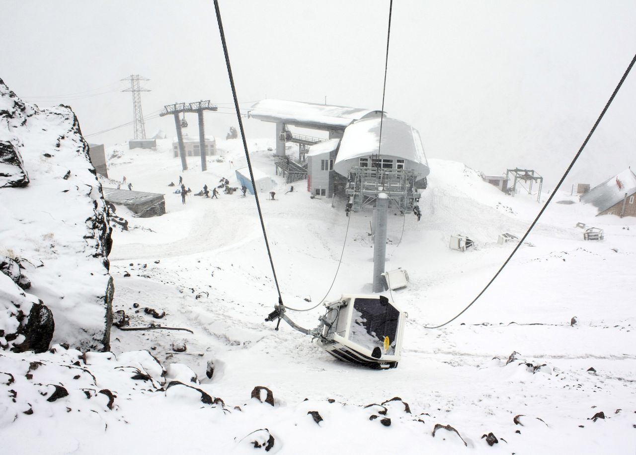 The damaged cabin of a cable car, which was blown up on Friday night by attackers, is seen near Mount Elbrus in Kabardino-Balkaria in Russia's North Caucasus region February 20, 2011. Although no casualties were reported, the local authorities decided to close the ski resort, which was then reopened on Sunday. Russia faces a long-running Islamist insurgency on its southern rim. Three bombs were defused in Russia's violence-plagued North Caucasus on Sunday, a news agency reported, as authorities stepped up security days after militants shot dead five people. REUTERS/Yevgeny Kayudin (RUSSIA - Tags: CIVIL UNREST CRIME LAW TRAVEL IMAGES OF THE DAY)