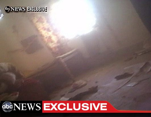 This video frame grab, obtained from ABC News on May 2, 2011, shows a gaping hole in the wall of the mansion where Osama Bin Laden was killed May 1. Al Qaeda leader Osama bin Laden was killed Sunday in a firefight with U.S. forces in Pakistan and his body was recovered, President Barack Obama said on Sunday. REUTERS/ABC News/Handout (PAKISTAN - Tags: MILITARY POLITICS) MANDATORY CREDIT