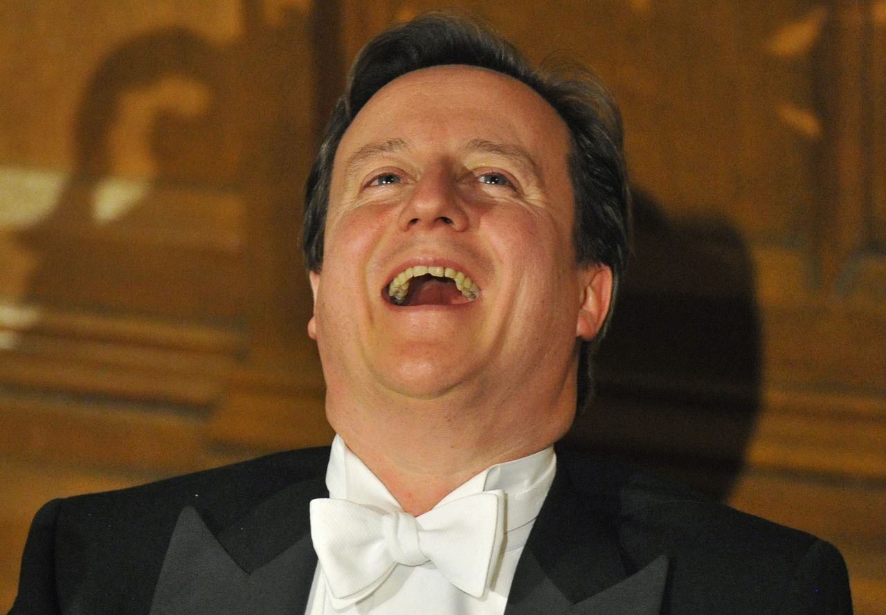 Britain's Prime Minister David Cameron reacts as he listens to speeches during Lord Mayor's Banquet in the City of London November 14, 2011. Britain must remain part of the European Union to protect its economic interests but a post-crisis Europe must not turn into a rigid bloc with the power to hurt those on the periphery, Cameron said on Monday. REUTERS/Toby Melville (BRITAIN - Tags: POLITICS)