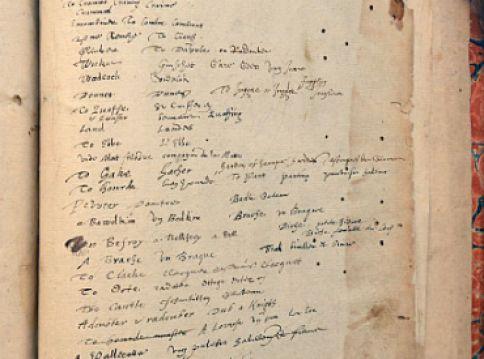 Screenshot van pagina van Barets woordenboek 'Alvearie' uit 1580.