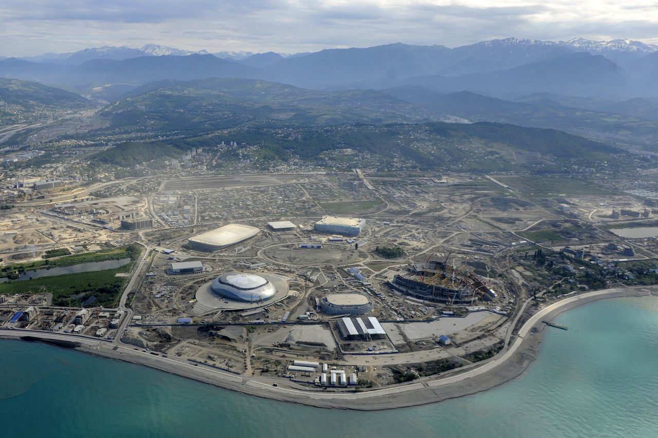 Picture taken from a helicopter on May 18, 2012, shows a general view of the construction area of the Olympic Park in the Black Sea resort of Sochi. Sochi will host the 2014 Winter Olympics which will start on February 7, 2014. AFP PHOTO/MIKHAIL MORDASOV