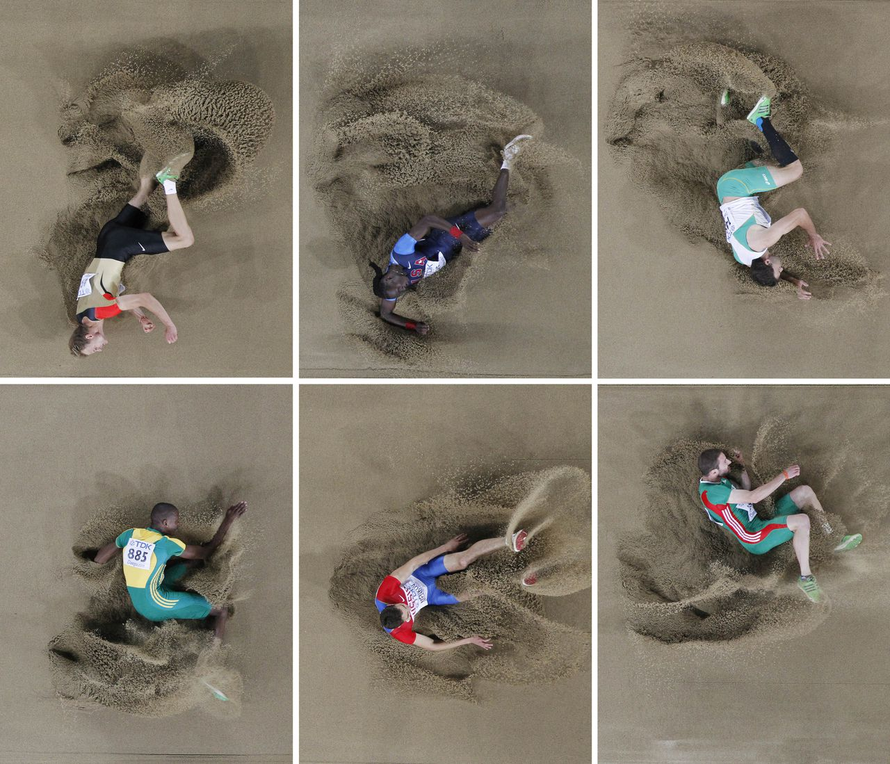 In this combo image made from six photos, top from left, Germany's Christian Reif, USA's Will Claye, Australia's Mitchell Watt, bottom from left, South Africa's Luvo Manyonga, Russia's Aleksandr Menkov, and Portugal's Marcos Chuva compete in the Men's Long Jump final at the World Athletics Championships in Daegu, South Korea, Friday, Sept. 2, 2011. (AP Photo/David J. Phillip)