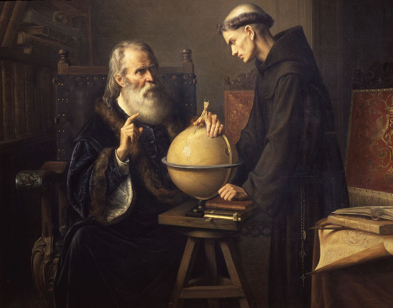 Galileo Galilei licht zijn astronomische ideeën toe. Een schilderij van Felix Farra uit 1873 / The Art Archive GALILEO Galilei, 1564-1642 Italian mathematician astronomer and physicist, explaining his new research at the University of Padua, Italy, painted 1873 -- FARRA, Felix : 1845-1919 : Mexican Photo Credit: [ The Art Archive / National Palace Mexico City / Gianni Dagli Orti ]