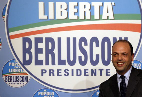 People of Freedom party secretary Angelino Alfano smiles as he arrives for a press conference at the party headquarters to comment the first electoral results in Rome, Monday, Feb. 25, 2013. The prospect of political paralysis hung over Italy on Monday as partial official results in crucial elections showed an upstart protest campaign led by a comedian making stunning inroads, and mainstream forces of center-left and center-right likely splitting control of Parliament's two houses. (AP Photo/Gregorio Borgia)