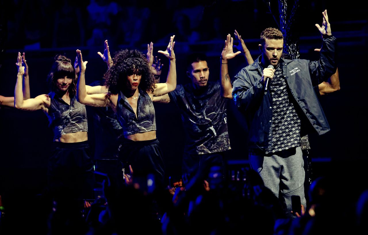 Justin Timberlake tijdens zijn 'The Man Of The Woods Tour' in de Ziggo Dome.