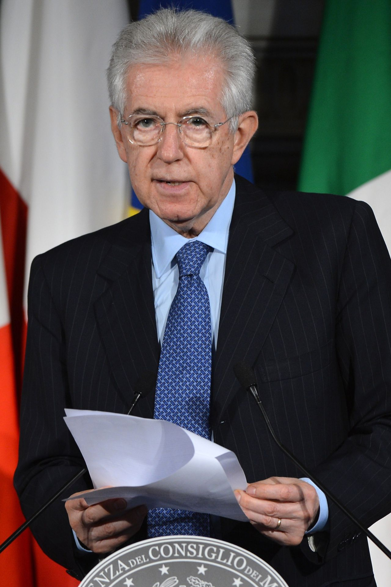 Italian Prime Minister Mario monti speaks during a press conference with his polish counterpart after an Italy-Poland summit on May 29, 2012 at Villa Madama in Rome. AFP PHOTO / ANDREAS SOLARO