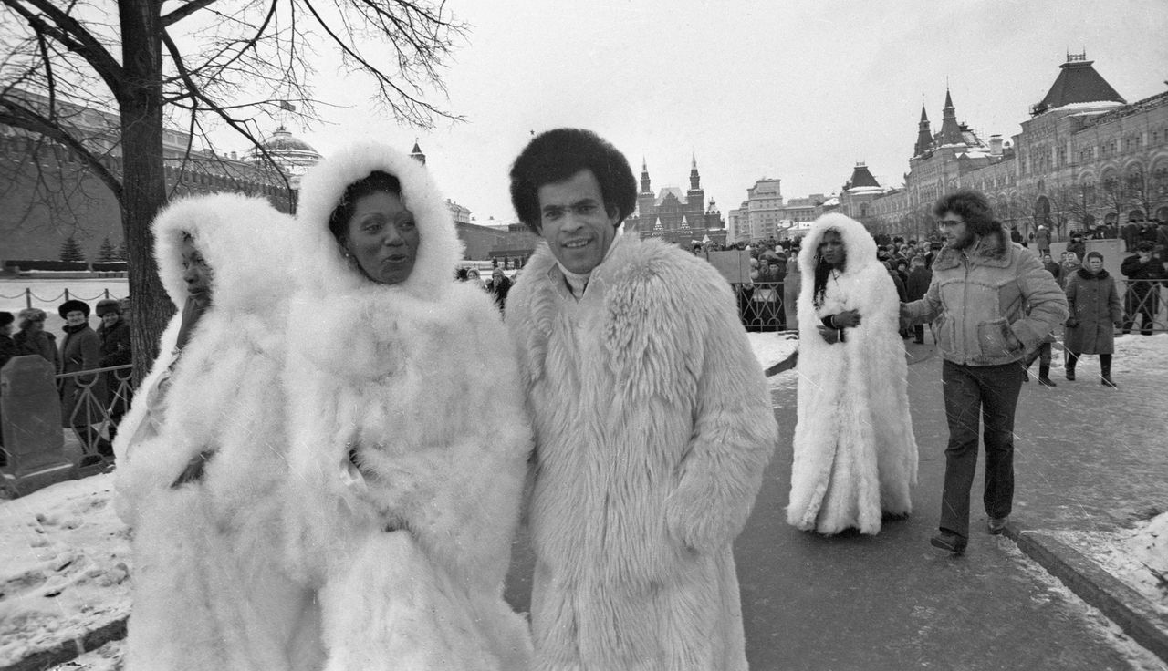 Boney M members from Germany strolling across Red Square.