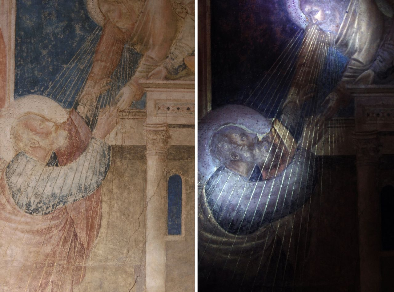 """A combination picture shows an original Giotto painting (L) and the same artwork under ultra-violet rays, exposing greater details, in the Peruzzi Chapel at the Santa Croce Church in Florence February 26, 2010. Restorers using ultra-violet rays have rediscovered rich original details of Giotto's paintings in the Peruzzi Chapel in Florence's Santa Croce church that have been hidden for centuries. The aim of the study, partly funded by a grant from the Getty Foundation in Los Angeles, was to gather information on the 170 square metre (1,830 square feet) chapel to use as a road map and """"hospital chart"""" for a future restoration. Picture taken February 26, 2010. To match EXCLUSIVE: ARTS ITALY/GIOTTO REUTERS/Alessandro Bianchi (ITALY - Tags: SOCIETY RELIGION)"""