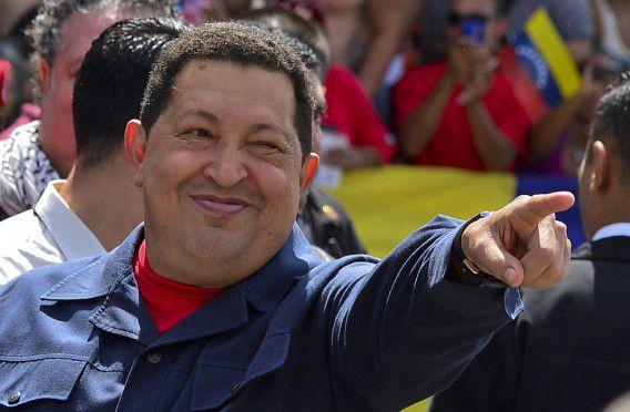 President Hugo Chavez afgelopen oktober vlak voor de presidentsverkiezingen die hij opnieuw won. Foto AFP / Luis Acosta
