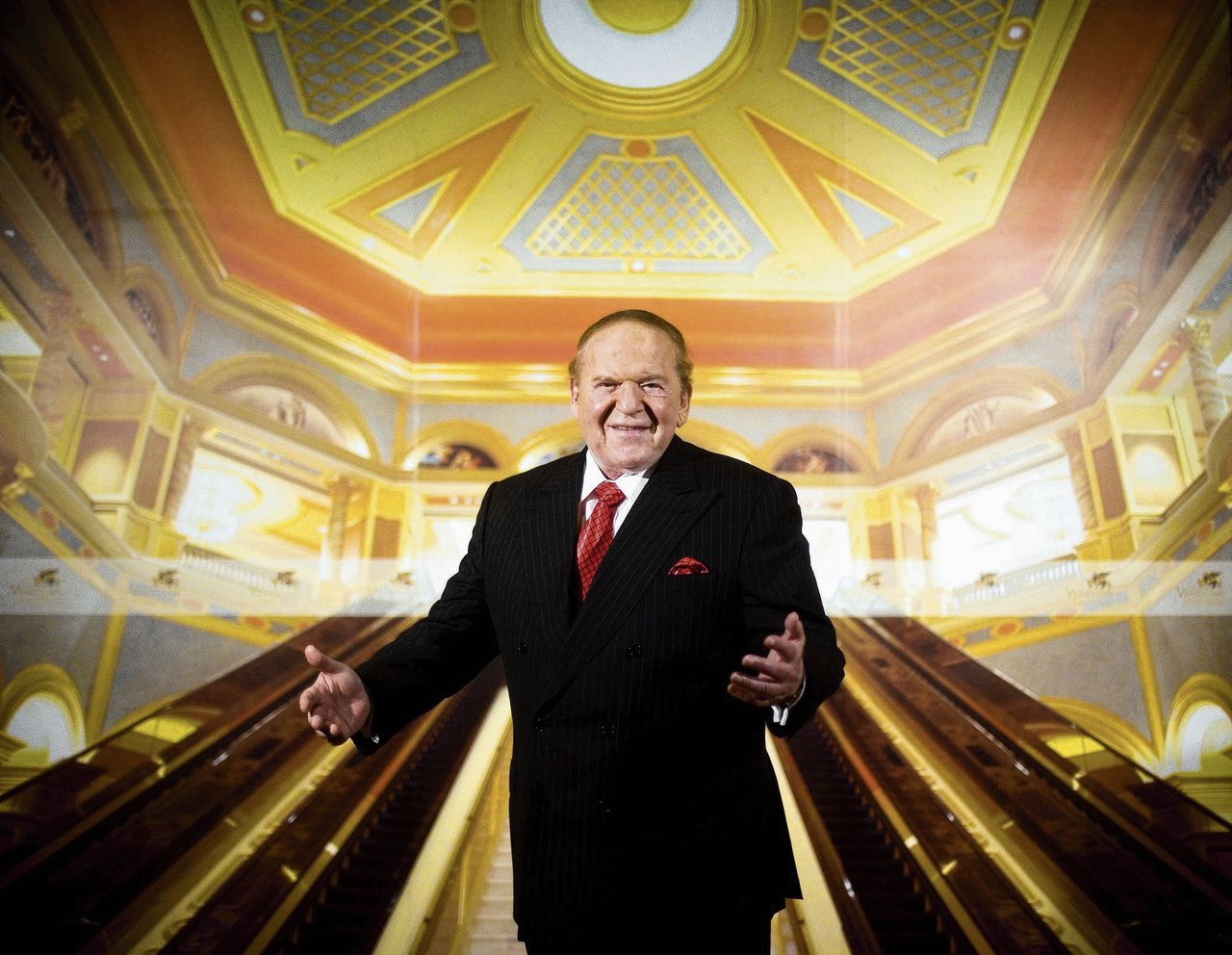 Casinokeizer Shelden Adelson in 2007 en later een van de grote financiers van Trumps campagne.
