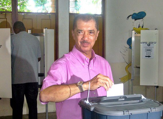 James Michel, Seychelles' incumbent President casts his vote May 21, 2011 in Victoria. Residents of the Seychelles' three main islands voted in the last leg of a three-day polling expected to hand incumbent James Michel another term in office. Voters in the isles of Mahe, Praslin and la Digue cast their ballots after inhabitants of the Indian Ocean archipelago's outer isles voted on Thursday and Friday to choose the country's next president. The bulk of the 70,000 registered voters reside on the three main isles and are choosing from among four presidential contenders . AFP PHOTO/Stringer