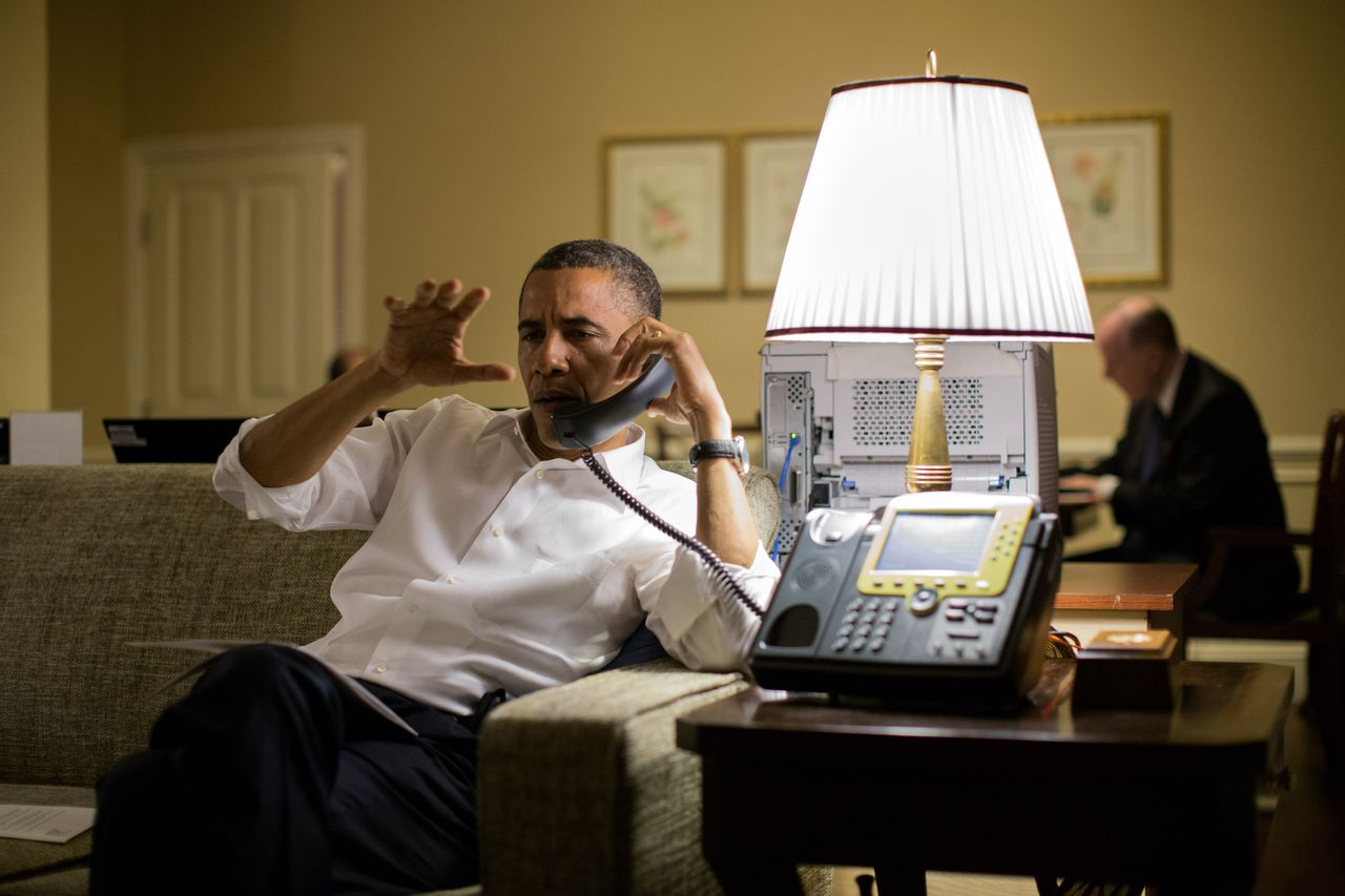 """In this image released by the White House, US President Barack Obama talks with Israeli Prime Minister Benjamin Netanyahu during a phone call from his hotel suite in Phnom Penh, Cambodia, on November 19, 2012. The US, the EU and the UN on November 21, 2012, welcomed a ceasefire between Israel and Hamas, and Washington thanked Egypt's new government for its successful first turn on the diplomatic stage. World powers were relieved by the deal, which may offer at least temporary respite from bloodshed in Gaza and southern Israel, but puts them in the debt of Egypt's President Mohamed Morsi, who sprang from the Muslim Brotherhood. = RESTRICTED TO EDITORIAL USE - MANDATORY CREDIT """"AFP PHOTO / THE WHITE HOUSE / Pete Souza"""" - NO MARKETING NO ADVERTISING CAMPAIGNS - DISTRIBUTED AS A SERVICE TO CLIENTS ="""