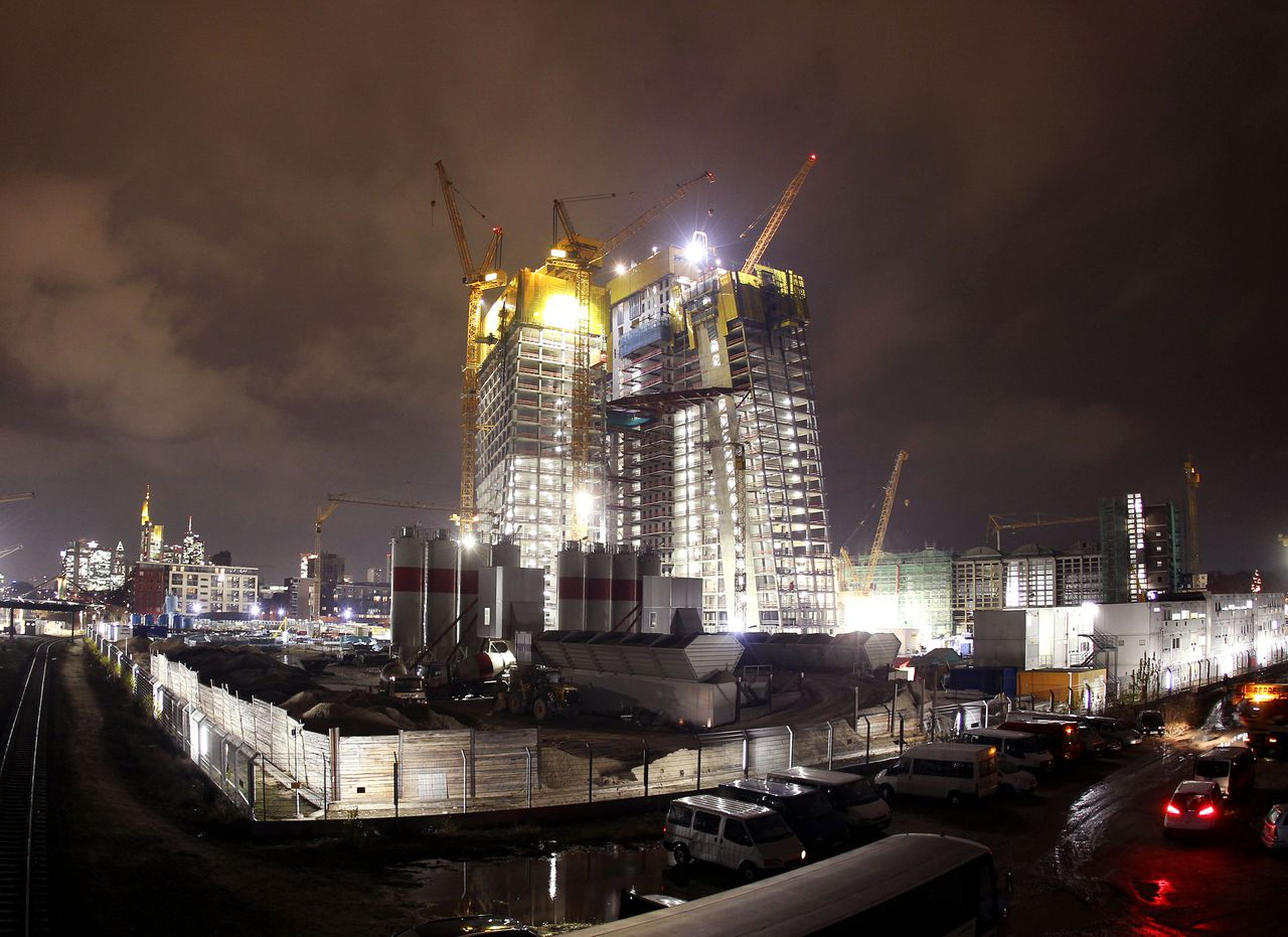The site of the new headquarters of the European Central Bank (ECB) called Skytower during construction works in Frankfurt, Germany, Monday, Dec. 19, 2011. The ECB is scheduled to move into the new building in the eastern part of Frankfurt in 2014. (AP Photo/Michael Probst)
