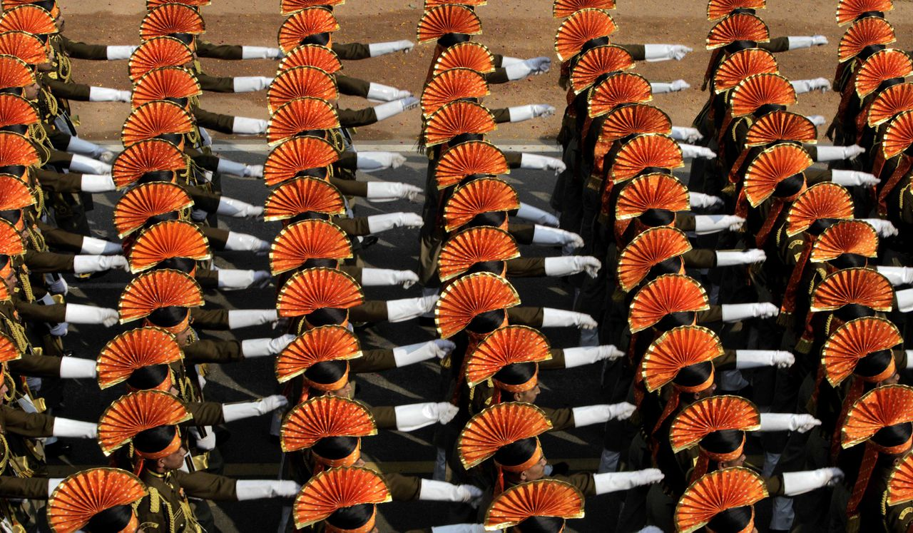 Indian paramilitary soldiers march during the Republic Day parade in New Delhi, India, Wednesday, Jan. 26, 2011. The day marks the anniversary of India's adoption of a democratic constitution. (AP Photo/Manish Swarup)