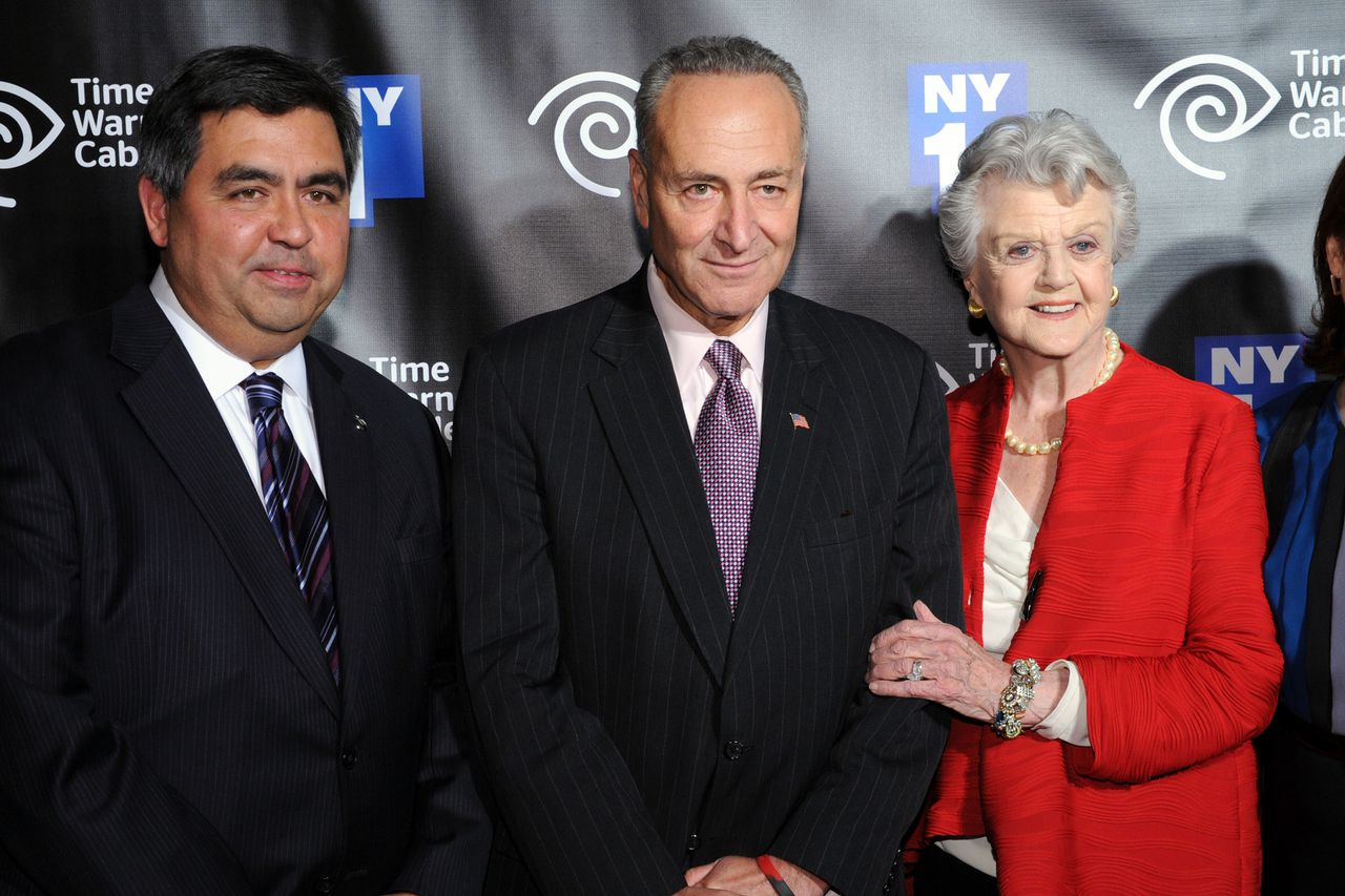 NEW YORK, NY - OCTOBER 11: (L-R) Vice President at NY1 News Steve Paulus, Senator Charles Schumer and actress Angela Lansbury attend the NY1 20th Anniversary party, in celebration of two decades of the New York City news channel at New York Public Library on October 11, 2012 in New York City. Bryan Bedder/Getty Images for NY1/AFP == FOR NEWSPAPERS, INTERNET, TELCOS & TELEVISION USE ONLY ==