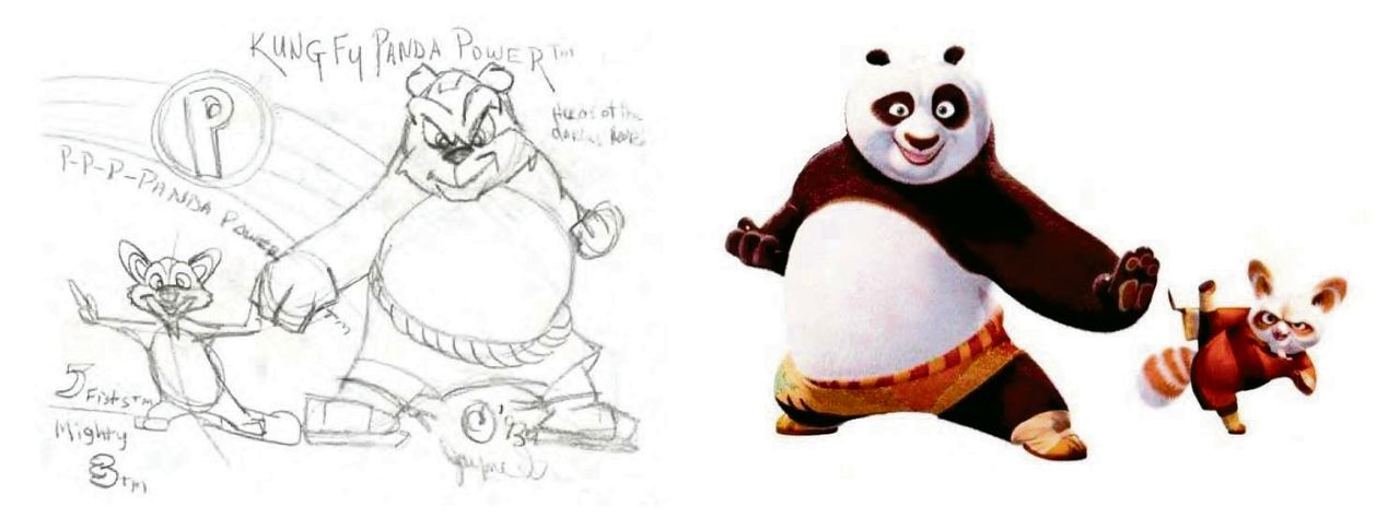 Links: de 'originele' schetsen van Gordon. Rechts: personages uit Kung Fu Panda